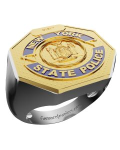 Men's New York State Police Two-Tone 10K Shield on Sterling Silver Shank Ring